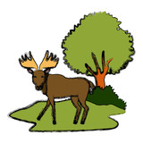 Reindeer animal cartoon icon vector illustration graphic design