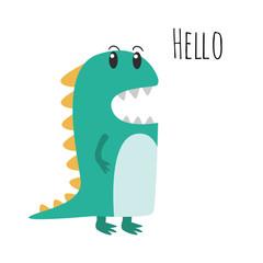 Cute Green Dinosaur Illustration