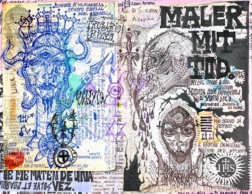 Staande foto Imagination Manoscritti alchemici e misteriosi con graffiti,tarocchi,schizzi,disegni e simboli esoterici,astrologici e alchemici
