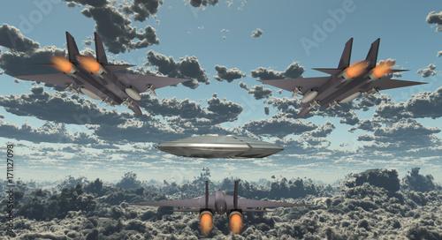 Plexiglas UFO Military Jets Pursue UFO