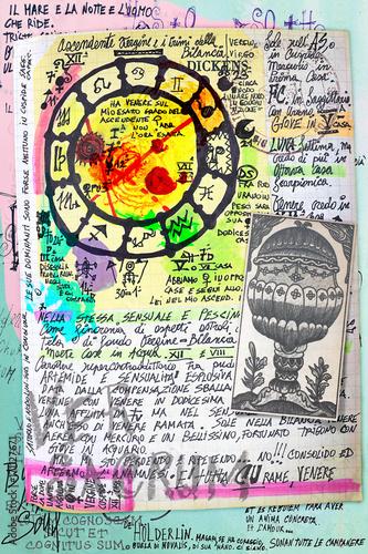 Papiers peints Imagination Manoscritti alchemici e misteriosi con graffiti,tarocchi,schizzi,disegni e simboli esoterici,astrologici e alchemici