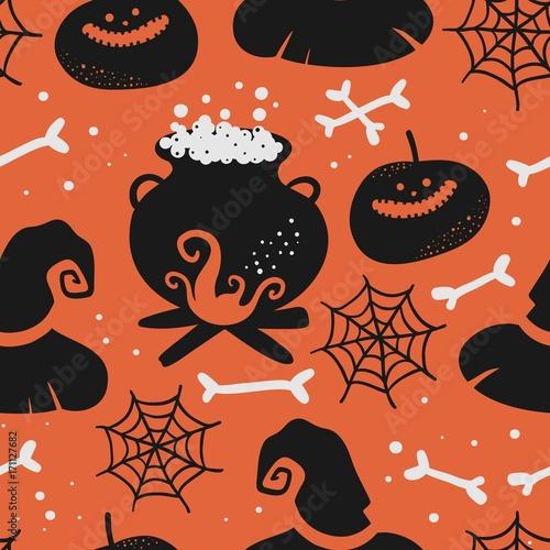 Materiał do szycia Vector seamless halloween pattern.