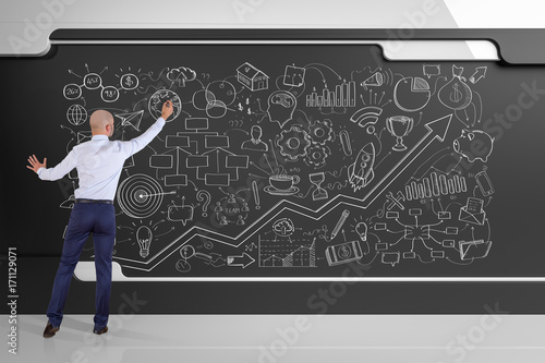 Businessman drawing a project sketch on a board 3D rendering