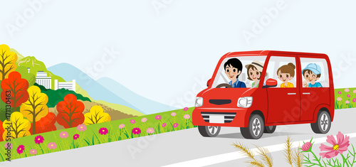 Fotobehang Auto Car driving in the Autumn road -Family