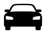 Sedan car, vehicle or automobile front view flat vector icon for apps and websites