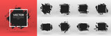 Grunge backgrounds set. Brush black paint ink stroke over square frame. Vector illustration - 171135409