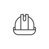 Helmet or hard hat line icon, outline vector sign, linear style pictogram isolated on white. Safety Symbol, logo illustration. Editable stroke - 171135452