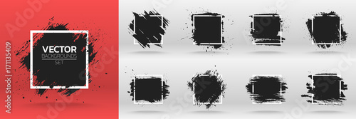 Grunge backgrounds set. Brush black paint ink stroke over square frame. Vector illustration © grumpybox