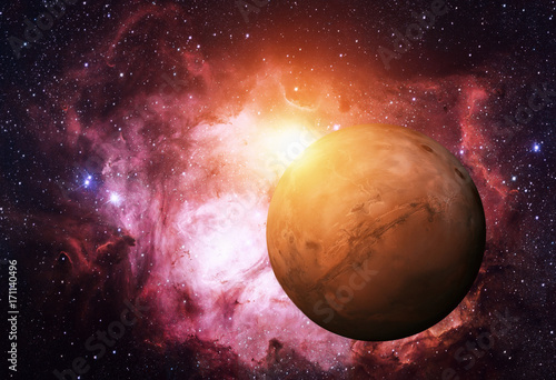 Fotobehang Nasa Solar System - Mars. It is the fourth planet from the Sun. Elements of this image are furnished by NASA
