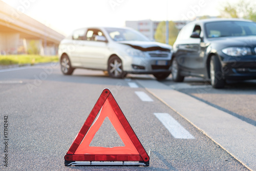 Reflective red triangle to point out car crash - 171142442