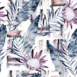Abstract print with marble random elements and watercolor leaves, flowers. Exotic pattern in retro style. Hand drawn illustration - 171143094