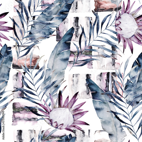 obraz lub plakat Abstract print with marble random elements and watercolor leaves, flowers. Exotic pattern in retro style. Hand drawn illustration