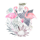 Abstract geometric poster with flamingo and protea. Summer tropical design. Hand drawn illustration