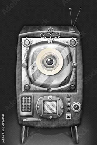 Staande foto Imagination The big brother-steampunk and strange television