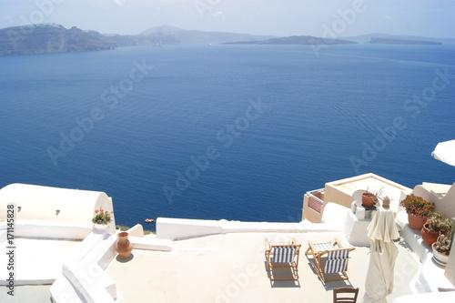 Fotobehang Santorini sea