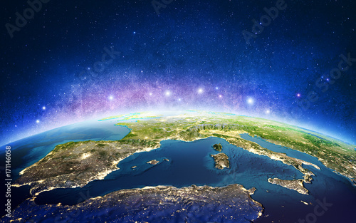Europe from space galaxy stars. 3D rendering
