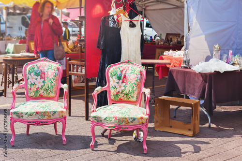 Old armchairs at the flea market Poster