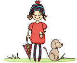 Autumn girl with little dog