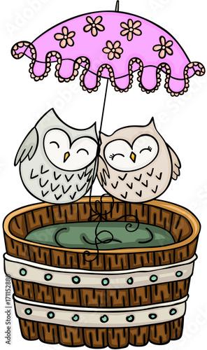 Fotobehang Uilen cartoon Couple owls with umbrella on wooden tub for a bath