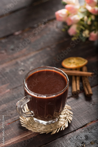 Foto op Plexiglas Chocolade Hot Chocolate on Rustic Table