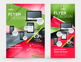 Abstract vector business brochures cover or banner design templates. Business flyer and poster with abstract red and green background