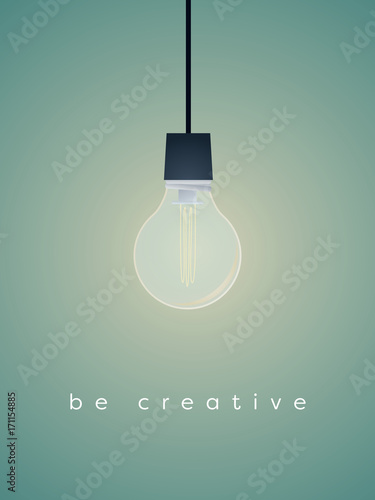 Creativity business concept vector with realistic 3d lightbulb and bright light.