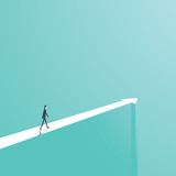 Business or career direction concept vector illustration. Businessman walking on arrow. - 171155042