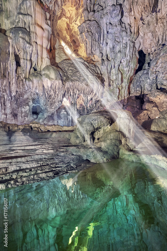 Fotobehang Donkergrijs beautiful and large limestone cave in vietnam