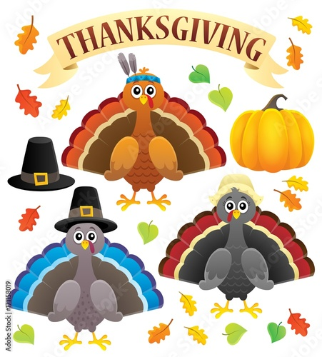 Aluminium Voor kinderen Thanksgiving turkeys thematic set 1