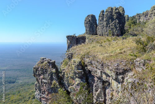 Rocks known as Guardians of Santiago, Chiquitania, Bolivia Poster