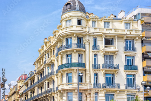 Staande foto Nice Beautiful daylight view to a hotel facade in Nice Cote d'Azur, France.