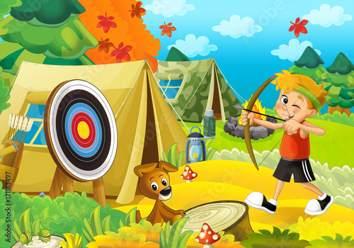 Cartoon scene of camping in the forest - happy and funny boy - with bow and arrows - archer - illustration for children - 171163497