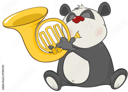 Papiers peints Chambre bébé Illustration of a Cute Panda Trumpeter. Cartoon Character