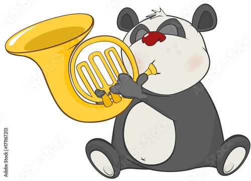 Fotobehang Babykamer Illustration of a Cute Panda Trumpeter. Cartoon Character