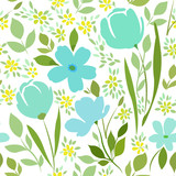 Seamless pattern with floral print on a white background. Meadow flowering plants.