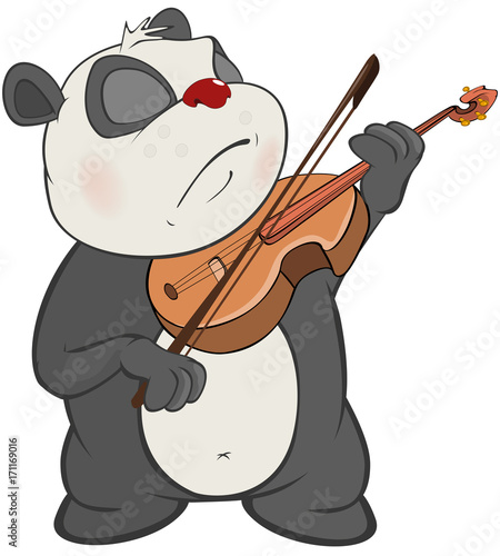 Foto op Canvas Babykamer Illustration of a Cute Panda Violinist. Cartoon Character