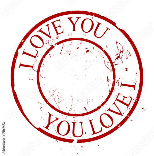 Grunge I Love You Stamp Vector