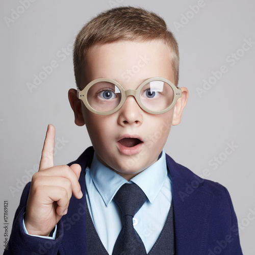 funny child in glasses.genius Kids