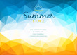 Polygonal shapes Summer time background with text - illustration.