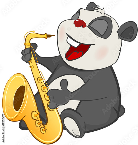 Foto op Canvas Babykamer Illustration of a Cute Panda Saxophonist.. Cartoon Character