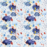 Watercolor falling leaves and shower seamless pattern. - 171171843