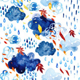 Watercolor falling leaves and shower seamless pattern. - 171171874