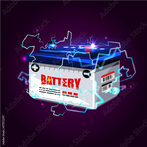 Aluminium Auto Car battery with electric sparks lighting effect. power energy concept - vector