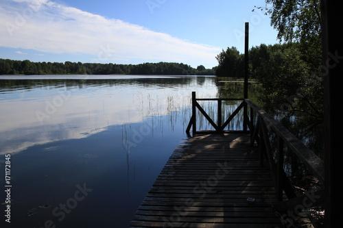 Fotobehang Pier Great Russian lake