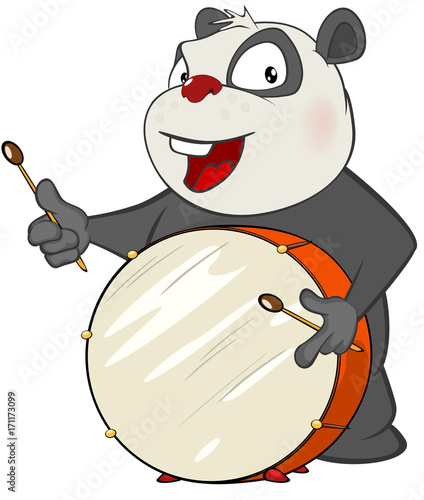 Papiers peints Chambre bébé Illustration of a Cute Panda Drummer. Cartoon Character