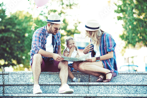 Tourists enjoying city