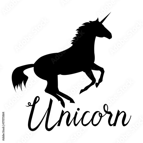 Aluminium Positive Typography Unicorn mythical horse in silhouette. Unicorn with inscription