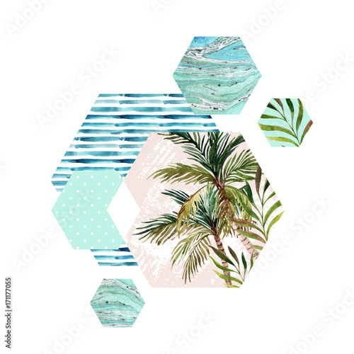 Abstract summer geometric hexagon shapes - 171177055