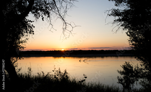 Fotobehang Beige tree silhouette on the river on a sunset background