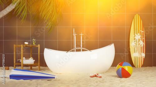 Badewanne Spa Wellness Urlaub Konzept - 171180251